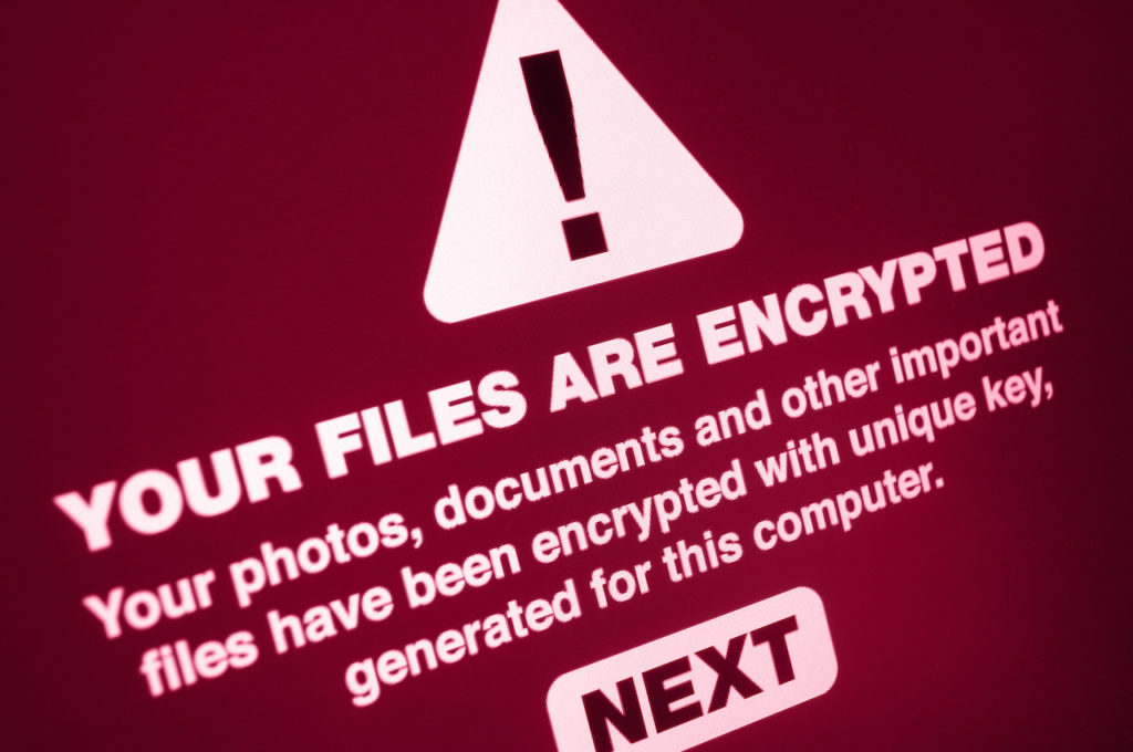 Warning sign showing files were encrypted by ransomware